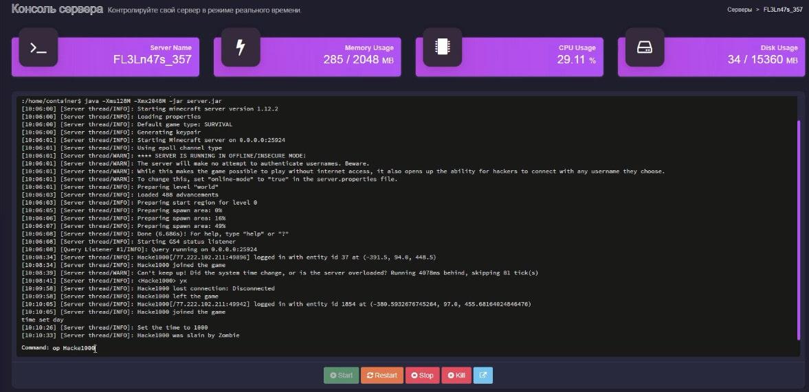 консоль сервера майнкрафт